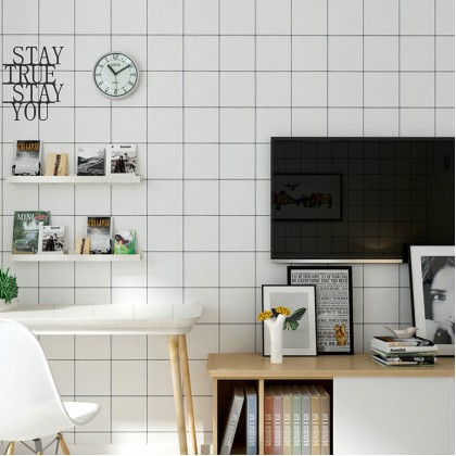 Grid Black and White PVC Contact Paper Wallpaper Stickers