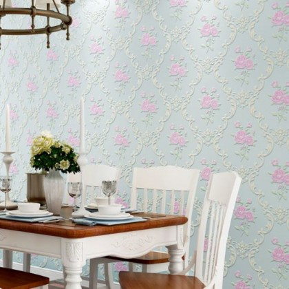 Cyan non-woven embossed wallpaper