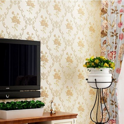 Slow yellow non-woven embossed wallpaper