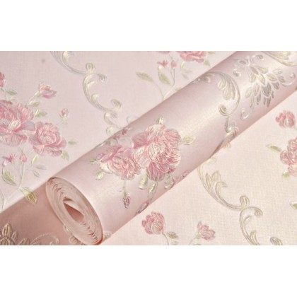 Pink non-woven embossed wallpaper