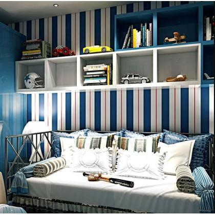 British vertical stripes Mediterranean style non-woven wallpaper