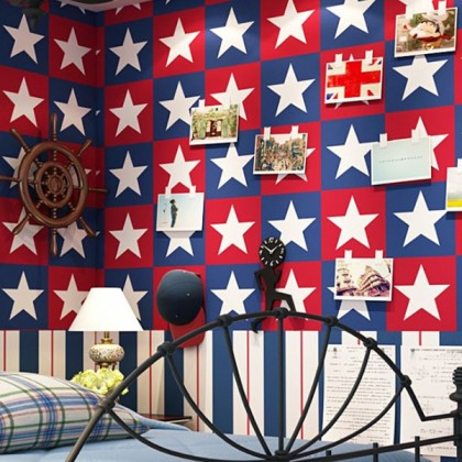 Captain America Pentagon Star Vertical Stripe Wallpaper
