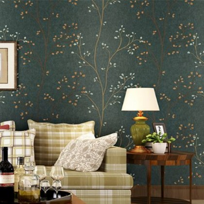 Dark green non-woven idyllic twigs wallpaper