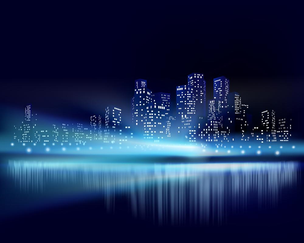 City View At Night Creative Custom Mural Wallpaper For
