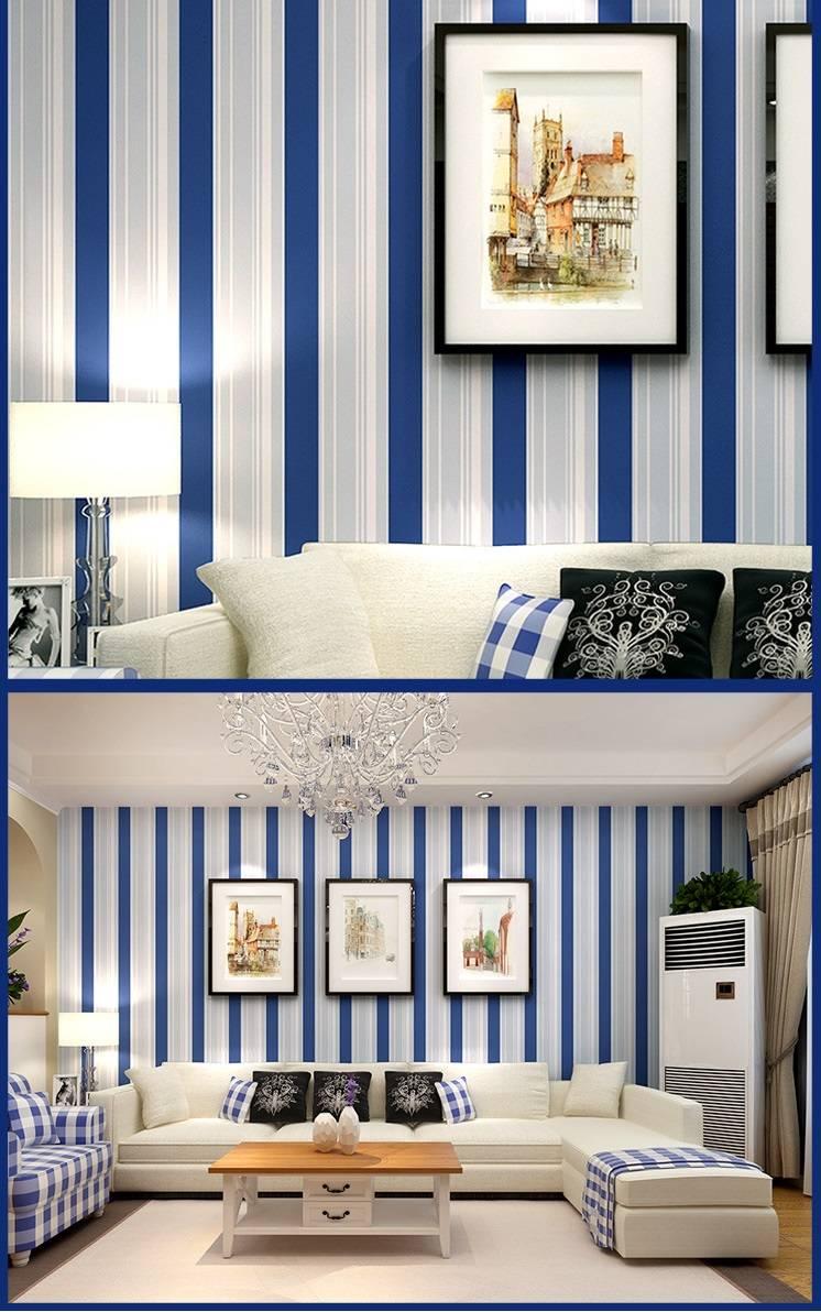 Vertical Stripes Mediterranean Wallpaper Modern Blue White Environmental Protection Waterproof Non Woven Living Room Sofa Wallpaper