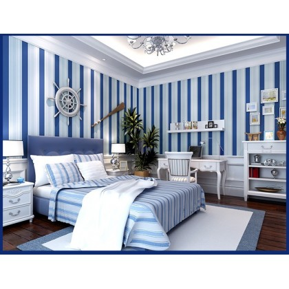Vertical stripes Mediterranean wallpaper Modern blue white environmental protection waterproof non-woven living room sofa wallpaper