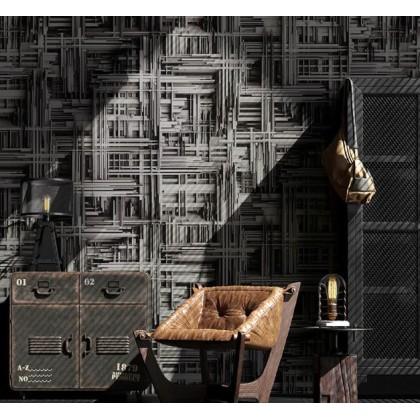 Industrial wind simulation geometric steel wallpaper