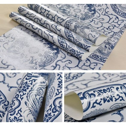 Classical Chinese blue and white porcelain wallpaper