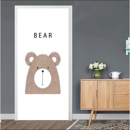 [90cm x 200cm] Cute Bear Door Sticker 3D Photo Wallpaper Airbnb Door Mural Living Room Bedroom Creative DIY Door Sticker Home Decoration
