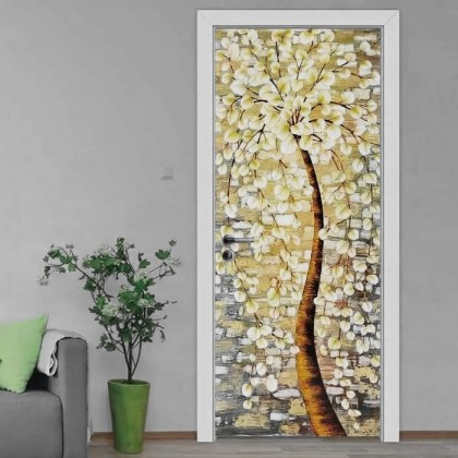 [90cm x 200cm] Beautiful Feng Shui Golden Sticker 3D Photo Wallpaper Airbnb Door Mural Living Room Bedroom Creative DIY Door Sticker Home Decoration