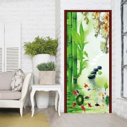 [90cm x 200cm] Beautiful Feng Shui Peacock Sticker 3D Photo Wallpaper Airbnb Door Mural Living Room Bedroom Creative DIY Door Sticker Home Decoration