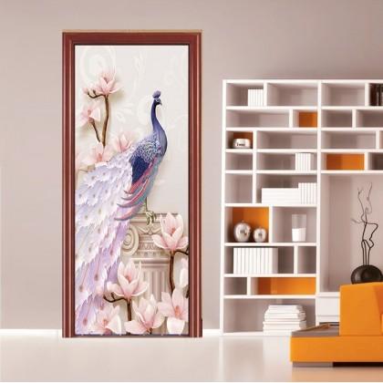 [90cm x 200cm] Beautiful Feng Shui Waterfall Sticker 3D Photo Wallpaper Airbnb Door Mural Living Room Bedroom Creative DIY Door Sticker Home Decoration