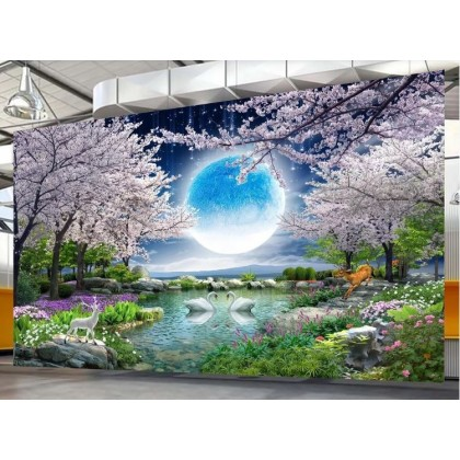 Moonlight beauty moon flower good moon round cherry tree landscape painting TV background wall Custom Mural Wallpaper