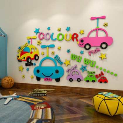 3D Cartoon car children's room layout early education kindergarten wall decoration baby bedroom wall stickers