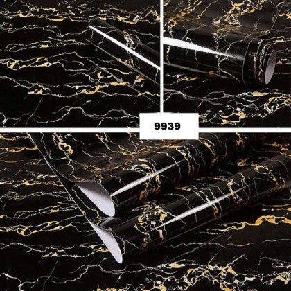 Waterproof black marble contact paper wallpaper sticker