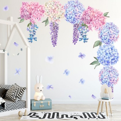 Flower Beautiful decorative  PVC home wall stickers Removable Wall Decoration Art