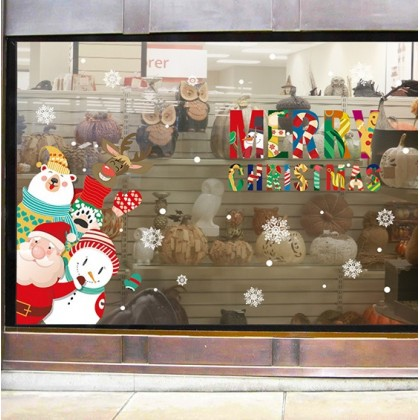 Merry Christmas Santa Claus White Snowflakes Background Glass Window Decoration Sticker