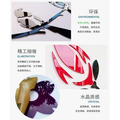 3D Acrylic Sticker Chinese New Year Plum Tree Koi Fish Lanterns Background With Gold Frame Wall Art Decoration Sticker