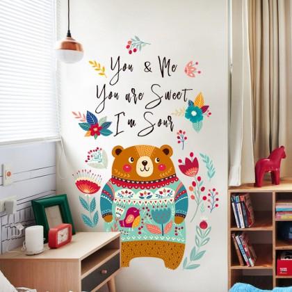 Cute bear cartoon wall sticker children's room kindergarten bedroom living room background decorative stickers