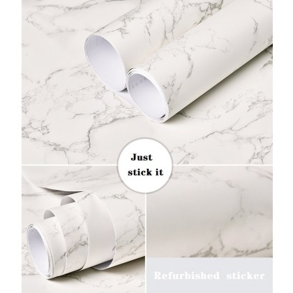 (Marble) Matte Marble Design Contact Paper Self-Adhesive PVC Waterproof Wallpaper Sticker Covering