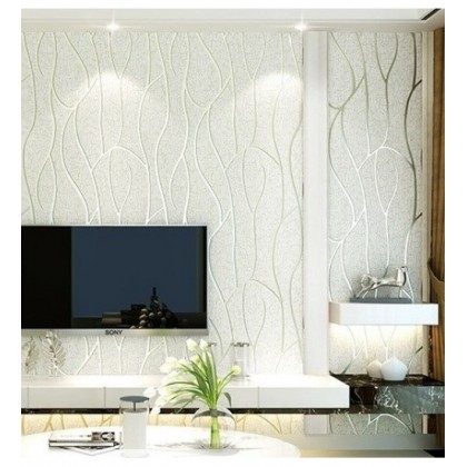 3D White Stripe & Curve Wallcovering Non-Woven Home Wallpaper