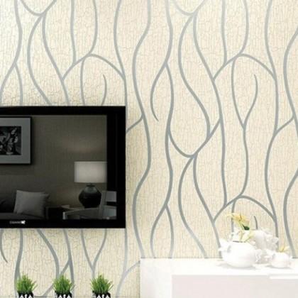 3D Beige Stripe & Curve Wallcovering Non-Woven Home Wallpaper