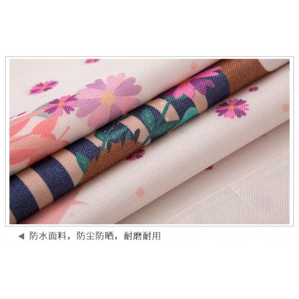 Vintage floral style washer cover cloth waterproof sunscreen dustproof cover refrigerator cotton linen (Size: 45cm x 140cm)