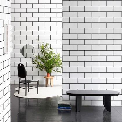 Lattice Brick Black & White Design Wallpaper Stickers