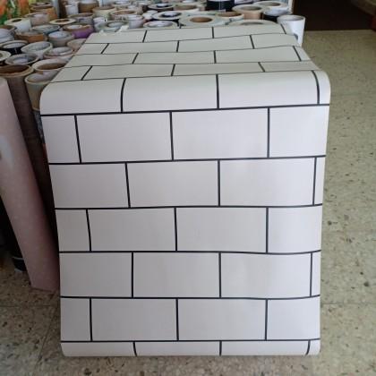 (Brick) Lattice Brick Black & White Design Wallpaper Stickers