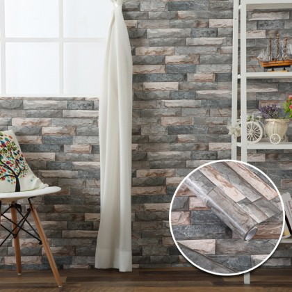 Retro Brick Texture Contact Paper PVC Waterproof Removable Wallpaper Sticker