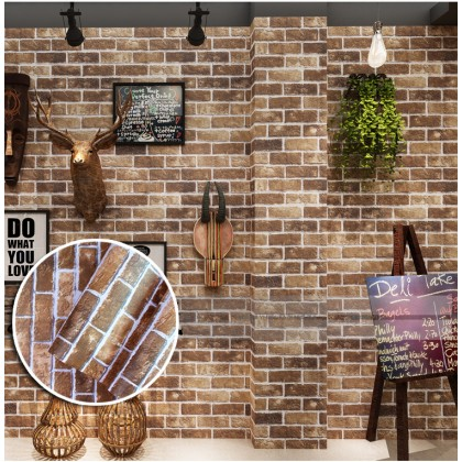 (Brick) Retro Style Brick Texture Contact Paper PVC Waterproof Removable Wallpaper Sticker