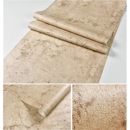 (Plain) Brown Cement Texture Contact Paper PVC Waterproof Removable Wallpaper Sticker
