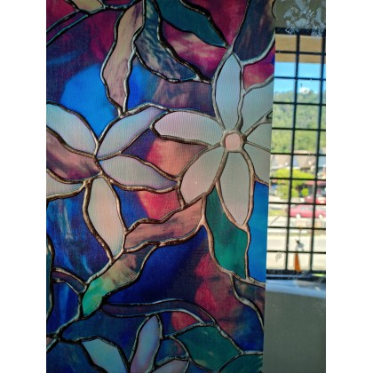 Colorful Floral Blue Background 3D Window Privacy Tinted Glass Window Film Sticker [Width: 60cm]