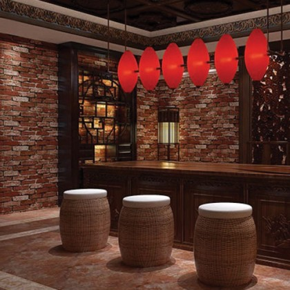 3D Red Brick Texture Wallcovering Wallpaper for Restaurant, Cafe, and Home Decoration