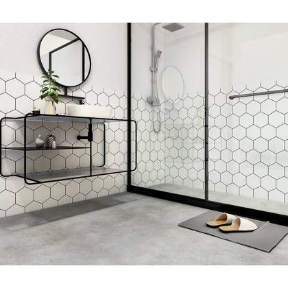 (Grid) HEXAGONO Geometrik şekiller Texture Contact Paper PVC Waterproof Removable Wallpaper Sticker
