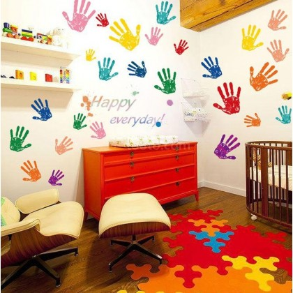 Colorful finger painting wall art decoration sticker
