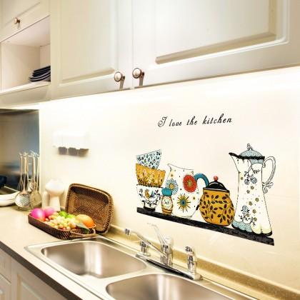 Retro bowl pot kitchen tiles wall art decoration sticker
