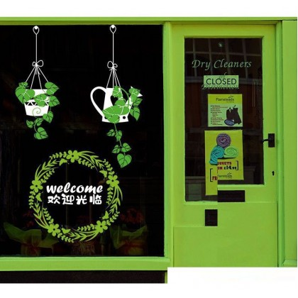 Green Grass Window or wall art Restoran Cafe decoration removable stickers