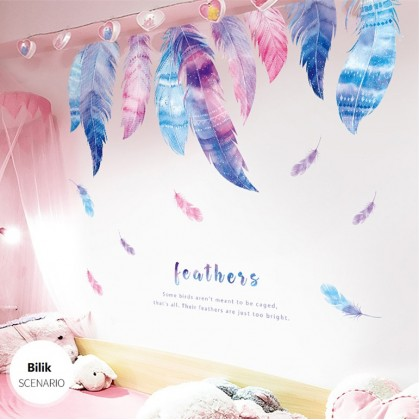 Romantic Feathers wall art Ladies Home Living Room decoration removable stickers