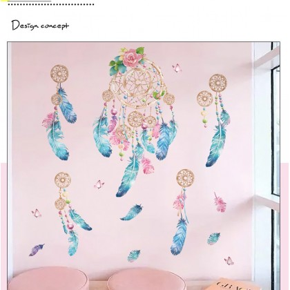 Romantic Dreamcatcher Feathers wall art Ladies Home Living Room decoration removable stickers