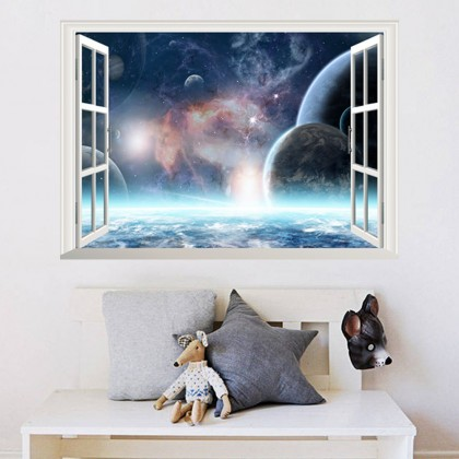 Fake Window Planet wall art  Home Living Room decoration removable stickers
