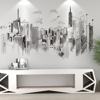 Big City Black White Creative wall art  Home Living Room decoration removable stickers