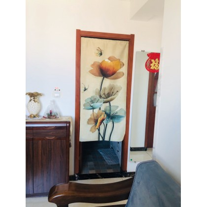 [Free Rod Curtain] Feng Shui Flower Home Decoration Door Curtain- Half Cutting