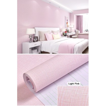 (Plain) Light Pink Texture Waterproof self-adhesive wall paper plain bedroom dining room TV background wall living room wall stickers
