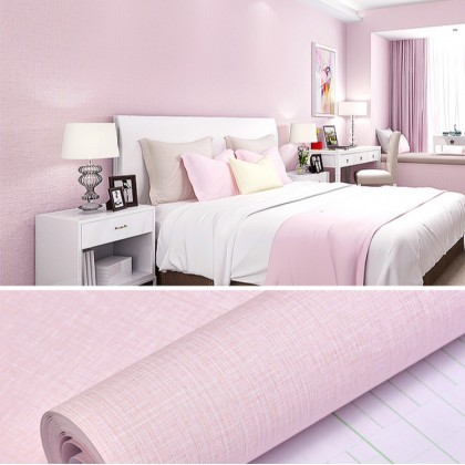 (Plain) Light Pink Texture Waterproof Contact Paper self-adhesive wall paper plain bedroom dining room TV background wall living room wall stickers