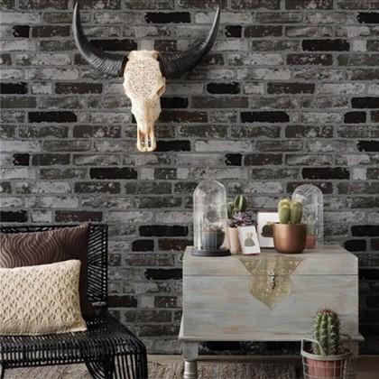 3D Black Brick Texture Vintage Wallcovering Wallpaper for Shop, Cafe and Home Decoration