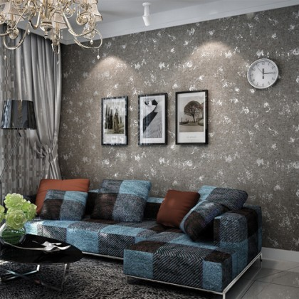 Spotted Grey Cement Texture Pure Fiber Wallpaper for Shop, Cafe and Home Decoration  Grey Industrial Wallpaper,Suitable for Family Bedroom Kitchen Living Room