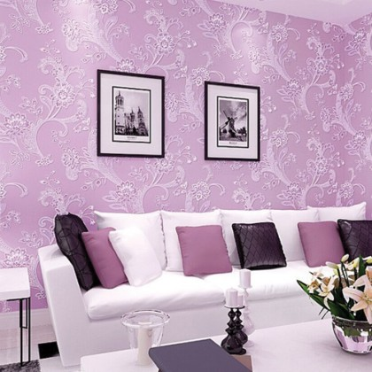 3D Modern European Style Purple Flower Wallpaper Home Decoration