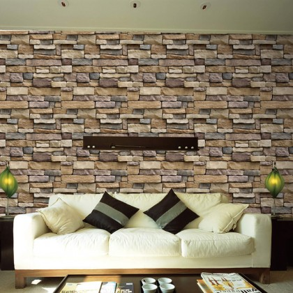 (Brick) 3D Brick Pattern Furniture Refurbished Contact Paper PVC Self-Adhesive Waterproof Wallpaper Sticker