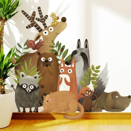 Cartoon Cute Animals Kindergarten Background Wall Art Decoration Removable Self-Adhesive Sticker